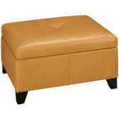 Leather Storage Ottoman with Pillows
