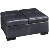 Choices Leather Accent Storage Ottoman