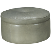 Crosby Round Leather Storage Ottoman