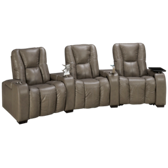 Media 3 Piece Leather Power Sectional with Accessories