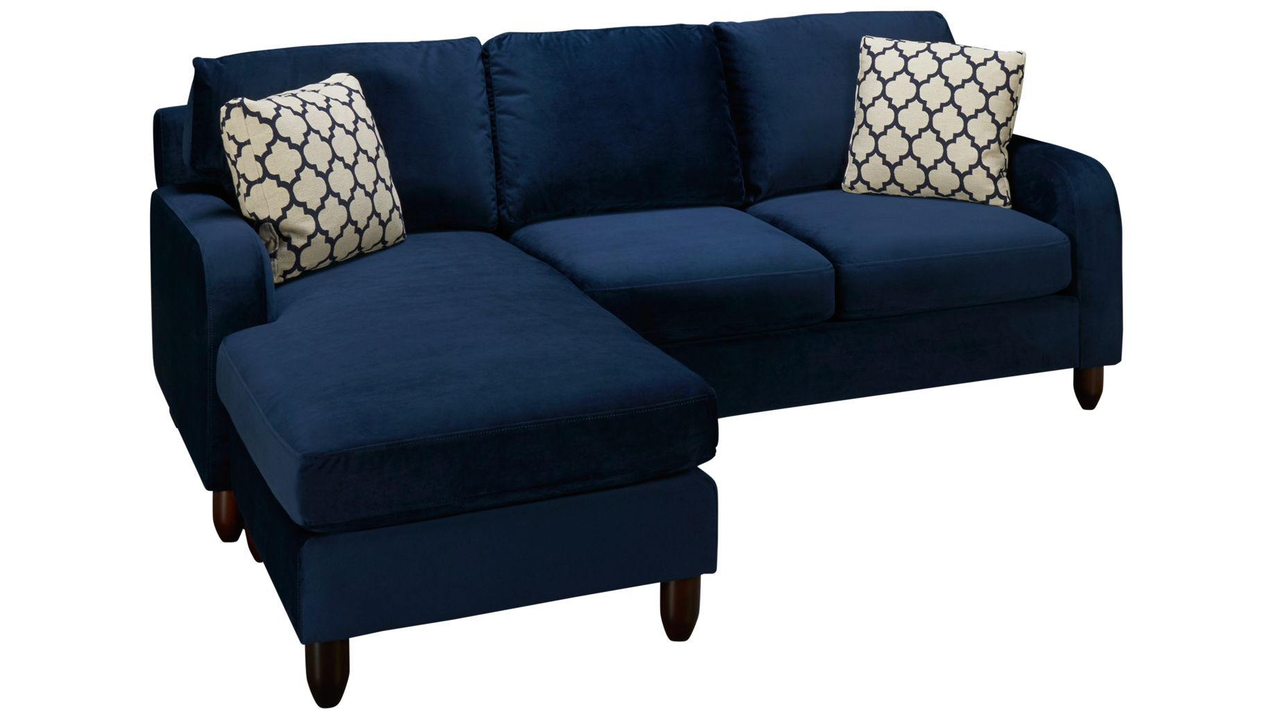 Sofa with chase champion sofa with chaise haynes furniture for Sofa with 2 chaise lounge