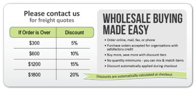 Wholesale Buying Made Easy - Save 5% on orders over $300, Save 10% on orders over $600, Save 15% on orders over $1200, Save 20% on orders over $1800.  No coupon code needed - discounts calculated automatically at checkout.