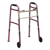 "Mabis Two-Button Release Aluminum Folding Walker with 5"" Wheels, Pink"