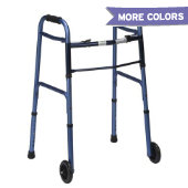 Mabis Two-Button Release Wheeled Folding Walker