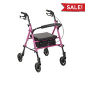 Drive Adjustable Seat Height Rollator (Pink, Breast Cancer Awareness Rollator)