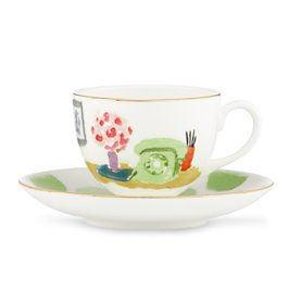illustrated tea time cup and saucer set