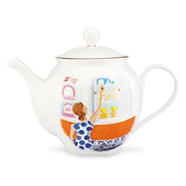 illustrated top shelf teapot