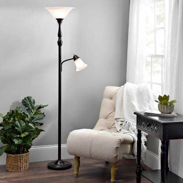 Black Caged Filament Floor Lamp · Single Arm Reading Torchiere