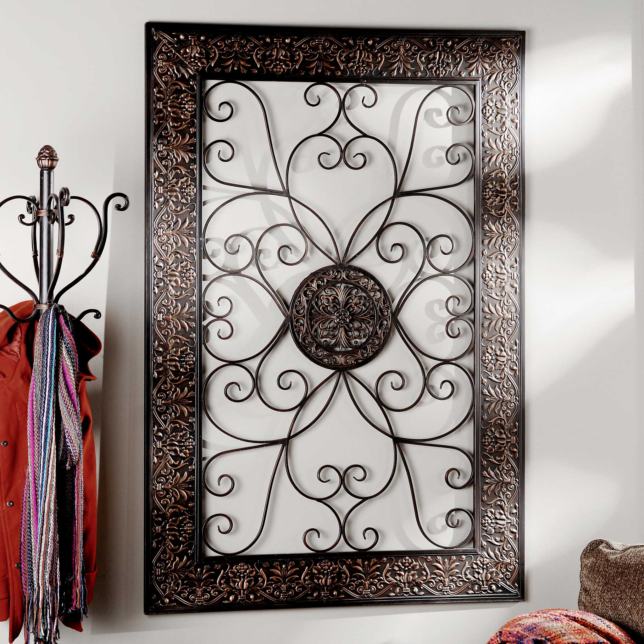embossed scroll plaque kirklands. Black Bedroom Furniture Sets. Home Design Ideas