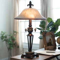 Prescott Bronze Glass Table Lamp