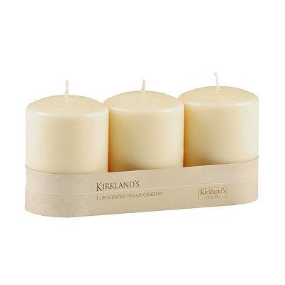 Ivory Pillar Candle, 3pk