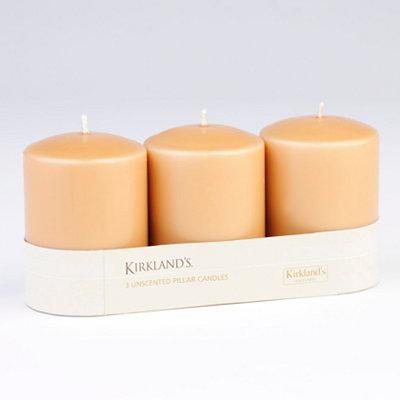 Taupe Pillar Candle, 3pk