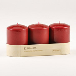 Burgundy Pillar Candle, Set of 3
