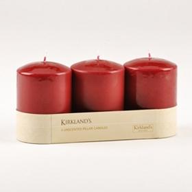 Burgundy Pillar Candle, Set of 3