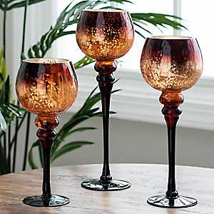 Chocolate Mercury Glass Charisma, Set of 3