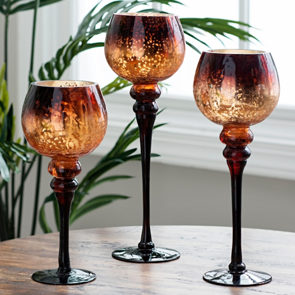 Chocolate Mercury Glass Charisma, Set Of 3