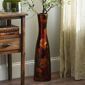 Red Foil Finish Floor Vase