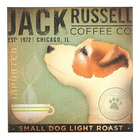 Jack Russell Coffee Canvas Print
