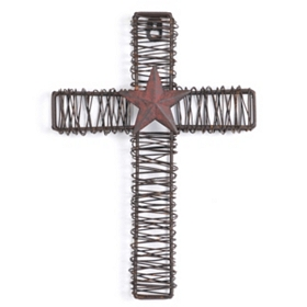 Rustic Metal Star Cross Plaque