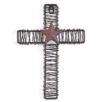 Rustic Metal Star Cross Plaque