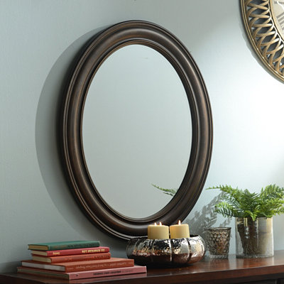Tortoise Oval Framed Mirror