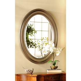 Distressed Silver Oval Framed Mirror