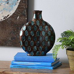 Blue & Smoke Dotted Vase