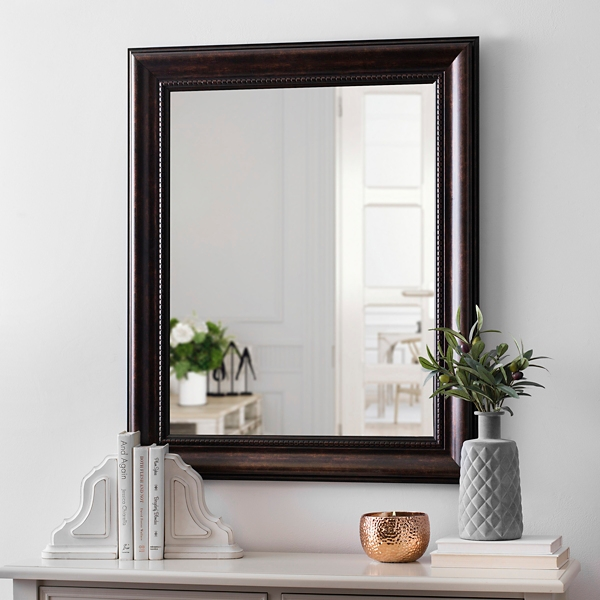 Exceptionnel Beaded Bronze Framed Mirror, 29x35 In.