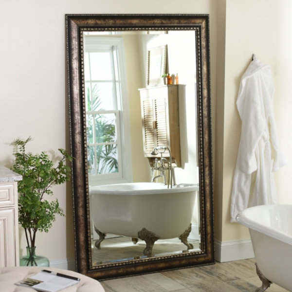 Antique Silver Leaner Mirror, 46x76 In.