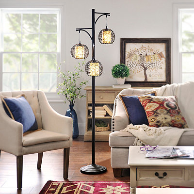 Triple Wicker Floor Lamp