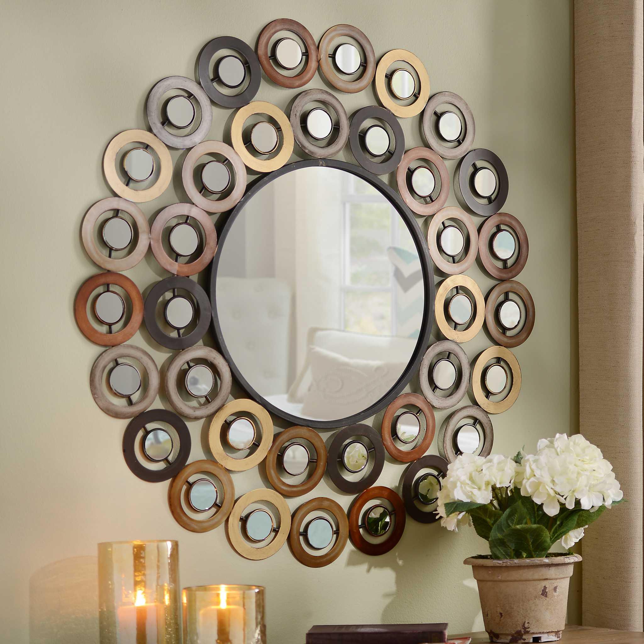Metallic dots mirror kirklands for Small wall mirrors