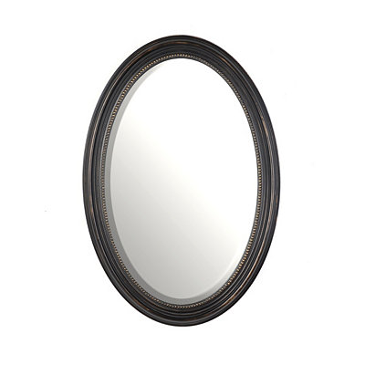 Distressed Black Oval Mirror, 21x31