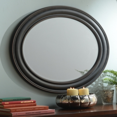 Black Oval Framed Mirror, 28x34