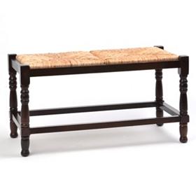 Mahogany Rush Seat Bench