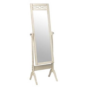 Antique White Cheval Floor Mirror
