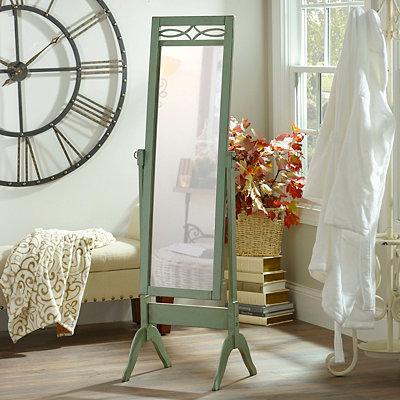 Distressed Blue Cheval Floor Mirror