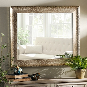 Pewter Framed Mirror, 30x36 in.