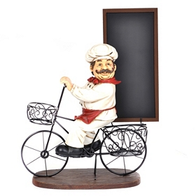 Bicycle Chef Chalkboard Statue
