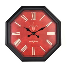 Red Octagonal Clock