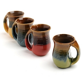 Ribbed Glazed Ceramic Mug