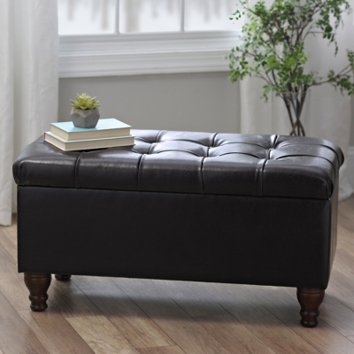 Kennedy Brown Faux Leather Tufted Bench