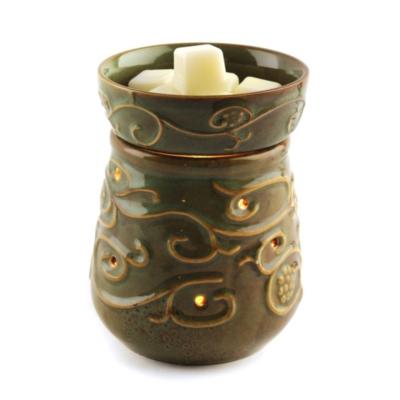 Ceramic Moss Green Scroll Wax Warmer