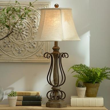 Dark Bronze Metal Curls Table Lamp