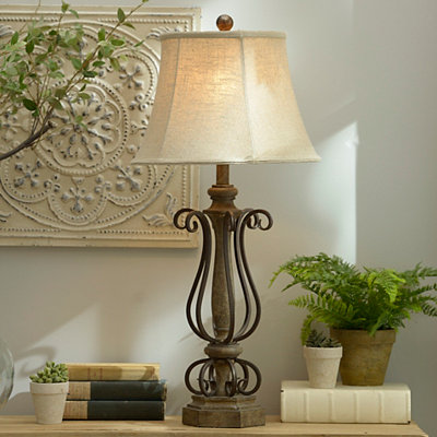 Dark Bronze Metal Curls Table Lamp