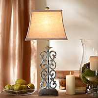 Metal Blue Scroll Table Lamp