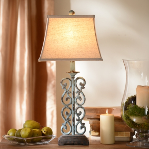 metal blue scroll table lamp - Table Lamps