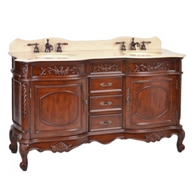 Mahogany Sinclair Double Vanity Sink, 60 in.