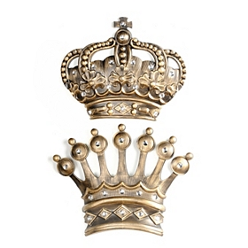 His/Her Jumbo Gold Jeweled Crown Wall Plaque