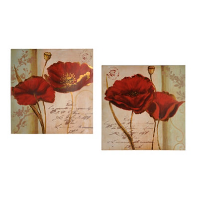 Red & Gold Poppies Canvas Art Print