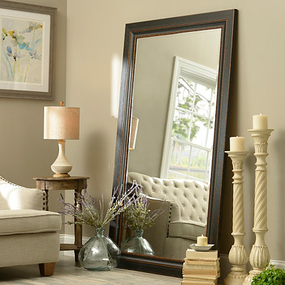 Floor mirror full length mirror kirklands for Black framed floor length mirror